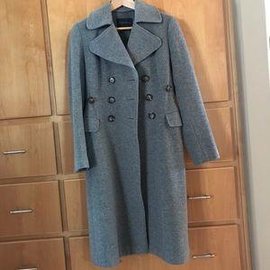 Melton cashmere and wool long coat